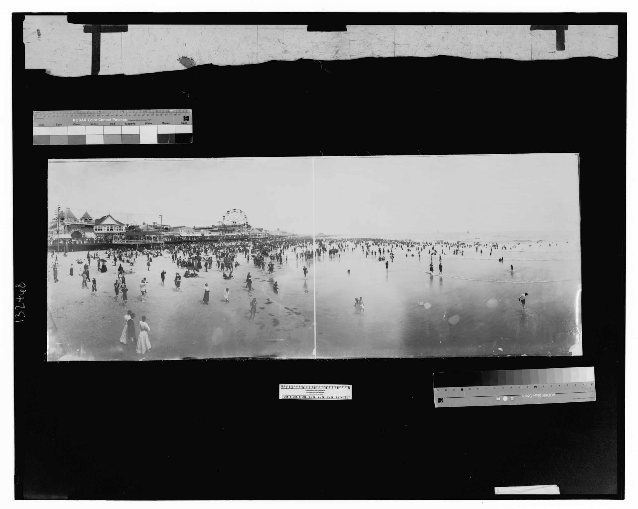 Atlantic City; panorama of beach and boardwalk from pier, William Herman Rau, ca. 1897