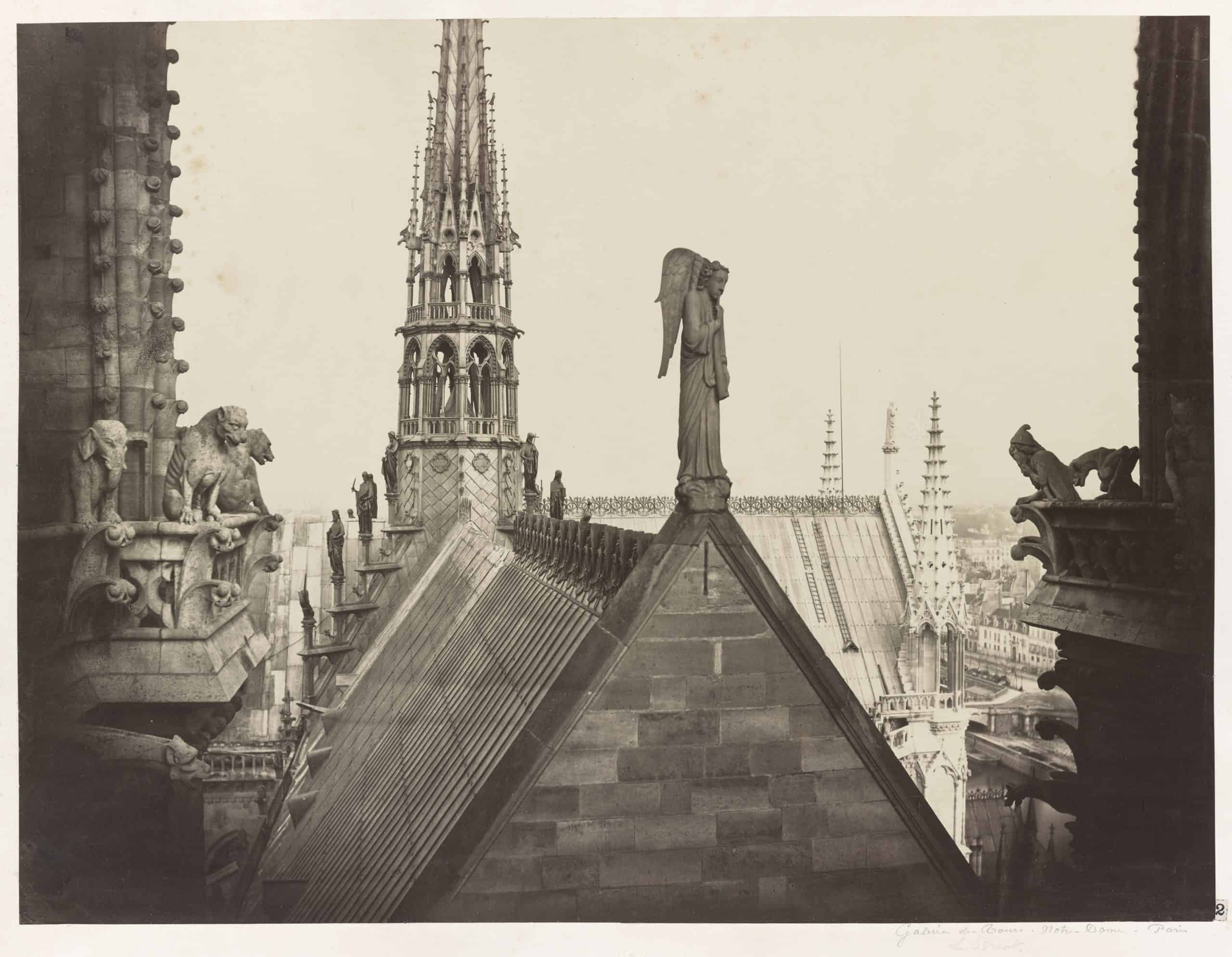 Notre Dame, Paris, France. View from spire of roofs, statuary, and gable. Photograph showing the statuary decorating the gables, roofs, and spires of Notre Dame. Charles Marville, 1860