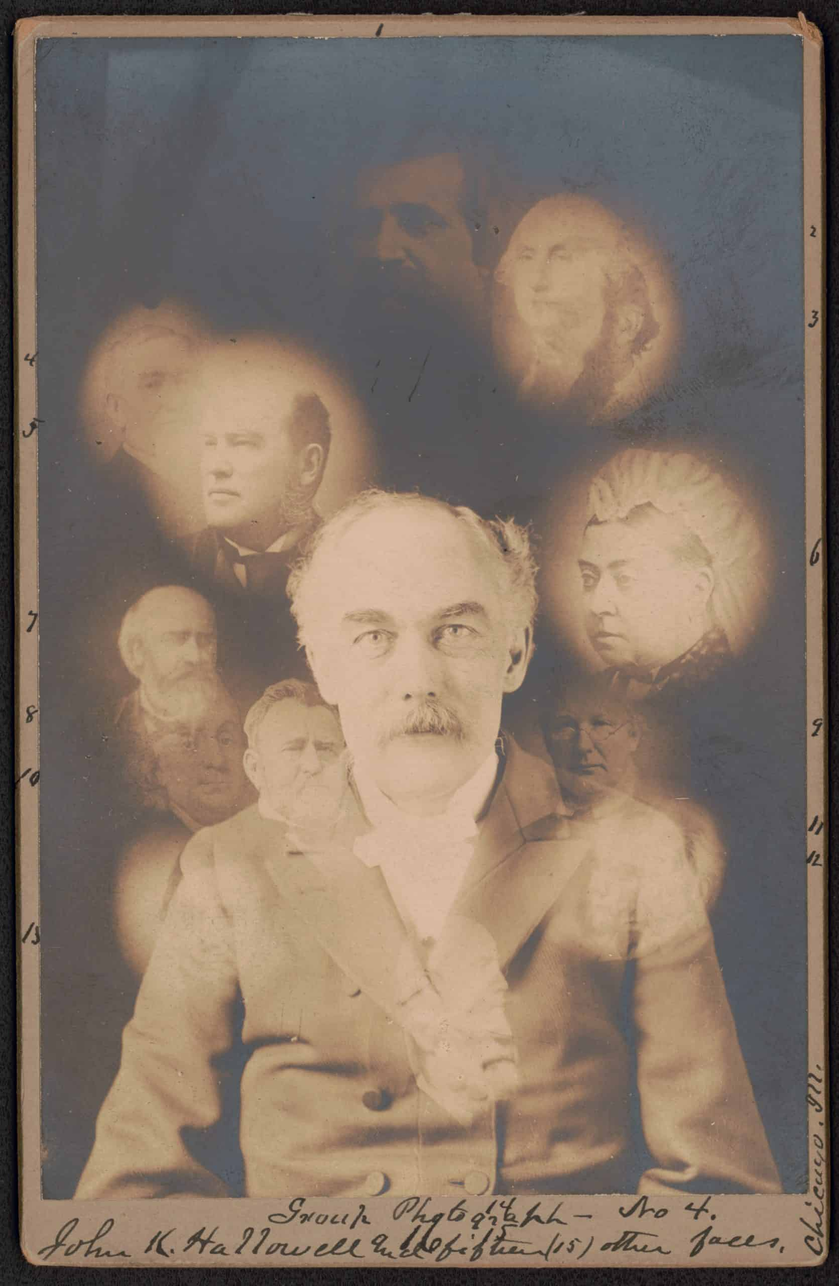 John K. Hallowell and fifteen (15) other faces / S.W. Fallis, photographer, Chicago. Spirit photograph shows portrait of John K. Hallowell and super-imposed faces of fifteen deceased people including George Washington and Queen Victoria. S. W. Fallis, 1901